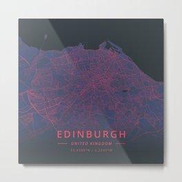 Edinburgh, United Kingdom - Neon Metal Print