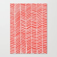 coral Canvas Prints featuring Coral Herringbone by Cat Coquillette