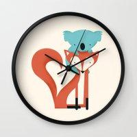 koala Wall Clocks featuring Fox & Koala by Jay Fleck
