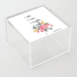 """Charlotte Mason """"I am. I can. I ought. I will."""" Quote with Watercolor Flowers Acrylic Box"""