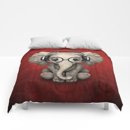 Cute Baby Elephant Dj Wearing Headphones and Glasses on Red Comforters