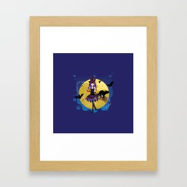 Flying witch illustration Framed Art Print
