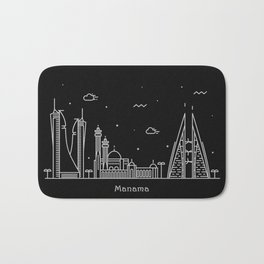 Manama Minimal Nightscape / Skyline Drawing Bath Mat