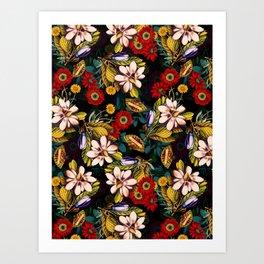 Japanese Floral Pattern Art Print