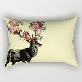 Spring Itself Deer Floral (Cream) Rectangular Pillow