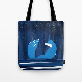 Wintery Blue Forest FOX Design Tote Bag