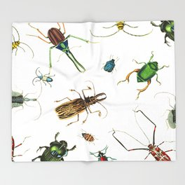 Bug Life - Beetles - Bugs - Insects - Colorful - Insect Pattern Throw Blanket
