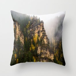 The Walls of Spearfish Canyon - Foggy Autumn Day in South Dakota Throw Pillow