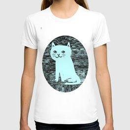 Wood grain cat T-shirt