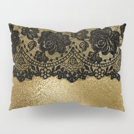 Black luxury lace on gold glitter effect metal- Elegant design Pillow Sham