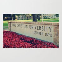 christian Area & Throw Rugs featuring Texas Christian University by Rhonda Lain