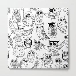 Funny owls Metal Print