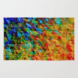 COLLISION COURSE - Bold Rainbow Splash Bricks Urban Jungle Ocean Waves Nature City Acrylic Painting Rug