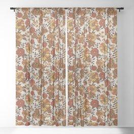 Retro 70s boho hippie orange flower power Sheer Curtain