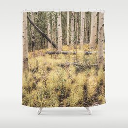 Aspen Spring // Morning Ground Growth Among the Trees Peaceful Scene Shower Curtain