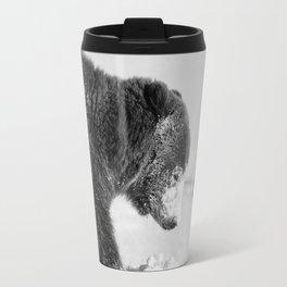 Alaskan Grizzly Bear in Snow, B & W - I Travel Mug