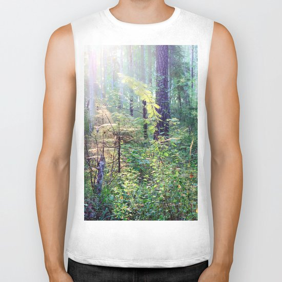 Sunny morning in the forest Biker Tank