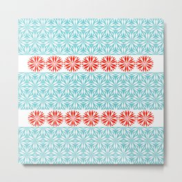 Flor turquoise Flor XL Coral Red another version Metal Print