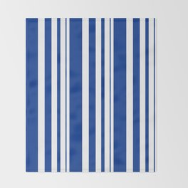 White and blue striped . Throw Blanket