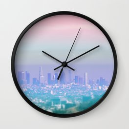 Los Angeles Scenic Southern California Landscape Colored Sun Haze Wall Art Print Wall Clock