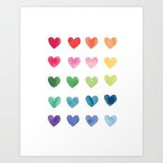Watercolour hearts Art Print