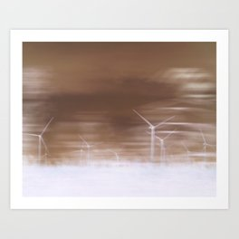 Ghostly wind turbines Art Print