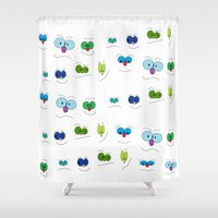 faces Shower Curtains featuring Faces by Mesa-Teresita