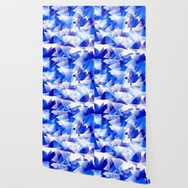 triangles in shades of blue Wallpaper