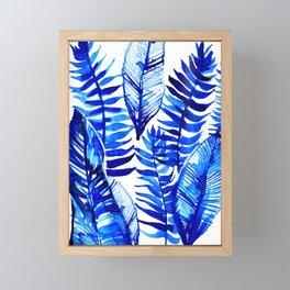Jungle Leaves & Ferns in Blue Framed Mini Art Print
