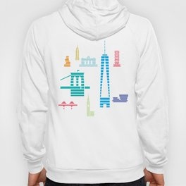 New York Skyline One WTC Poster Black Hoody