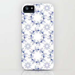 Blue floral ornament on a white background iPhone Case