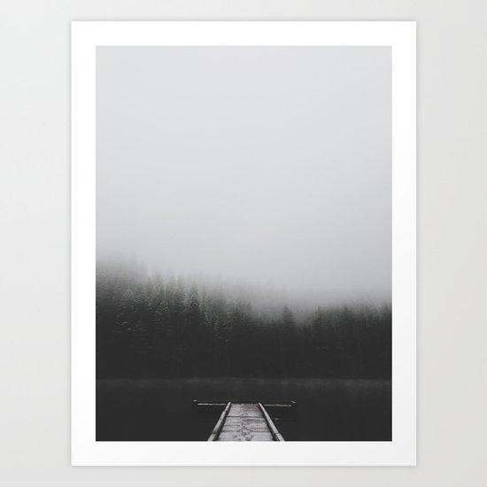 Snow Covered Dock Art Print