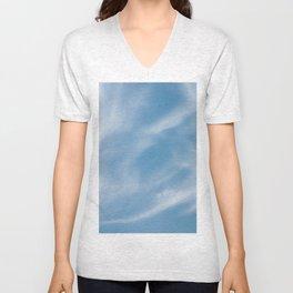 Blue and White Softlight Cloudscape Unisex V-Neck