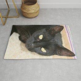 Beautiful Black Cat Portrait  Rug