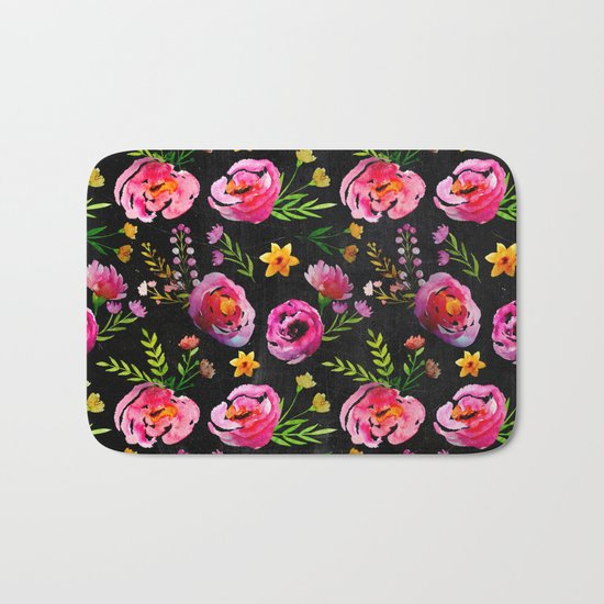 Vibrant Poppy Pattern Bath Mat