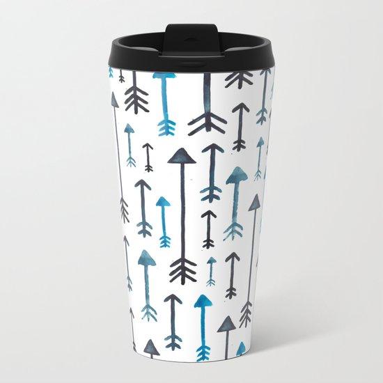 Watercolour Blue Arrows Metal Travel Mug