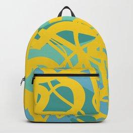 Yellow Green Acqua Abstract Organic Pattern Desig Backpack