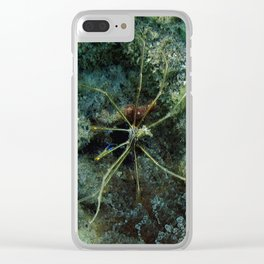 Watercolor Sealife Yellowline Arrow Crab, Spider of the Deep Clear iPhone Case