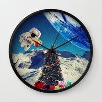 christmas tree Wall Clocks featuring Christmas Tree by a_Cs025