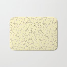 Sakura - Cherryblossom Branches on yellow Pattern Bath Mat
