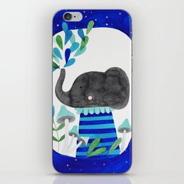 elephant with raindrops in blue watercolor illustration iPhone Skin