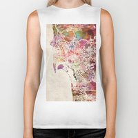 san diego Biker Tanks featuring San Diego by MapMapMaps.Watercolors