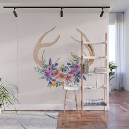 Antlers with Flowers Wall Mural