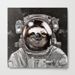 Astronaut Sloth Selfie Metal Print