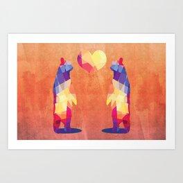 Geometric Bears - Peach Art Print