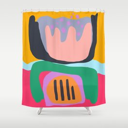 Shapes and Layers no.26 - Modern Abstract Flowers Shower Curtain