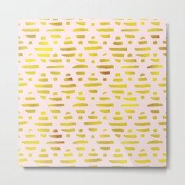 Gold & Light Pink Geometric Pattern Metal Print