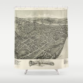 Aerial View of Parkersburg, West Virginia (1899) Shower Curtain