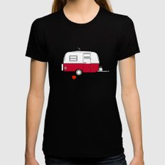 Vintage Boler camper MEDIUM Black Womens Fitted Tee