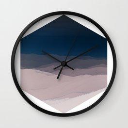 Hexagon Landscape - Dark Blue & Light Dusky Pink - Minimalist Nature Wall Clock